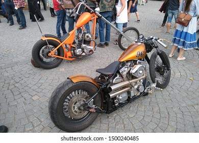 Tampere, Finland - August 31, 2019: Parked customized motorcycles at the bike show Mansen Mäntä Messut (Tampere piston fair in English).