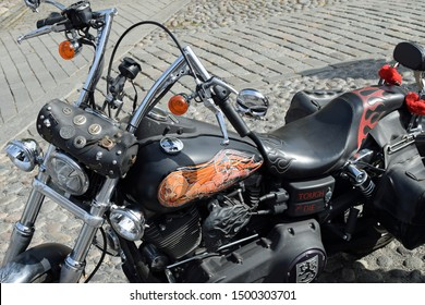 Tampere, Finland - August 31, 2019: Customized motorcycle at the bike show Mansen Mäntä Messut (Tampere piston fair in English) with skull theme.