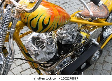 Tampere, Finland - August 31, 2019: Customized motorcycle with Finnish national epic Kalevala theme  at the bike show Mansen Mäntä Messut (Tampere piston fair in English).