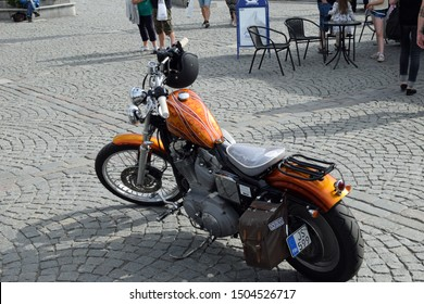 Tampere, Finland - August 31, 2019: Parked customized motorcycle at the bike show Mansen Mäntä Messut (Tampere piston fair in English).