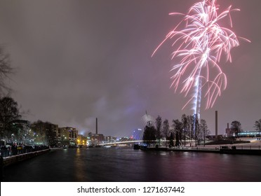 Tampere, Finland - December 31 2018: Tampere new year 2019 fireworks