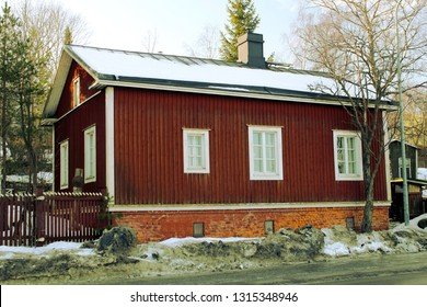 Tampere, Finland - February 16 2019: Former Pispala police station, behind a small window was a lockup.