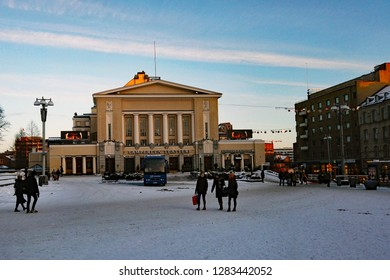 Tampere, Finland - January 12, 2019: Tampere Theatre building is located right in the centre of Tampere, opposite the municipality hall on the shore of Tammerkoski