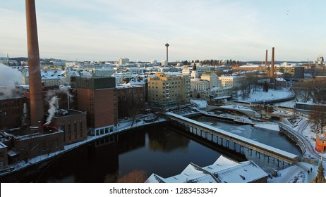 Tampere, Finland - January 12, 2019: Aerial view of Tampere city. Näsinneula,observation tower on background.