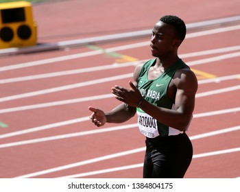 TAMPERE, FINLAND,  July 10: ABDU AHMED MARZOUQ (SAUDI ARABIA) run on  100 METRES at the IAAF World U20 Championships in Tampere, Finland on July 10, 2018.