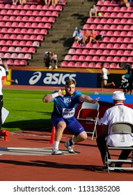 TAMPERE, FINLAND,  July 10: Adrian Piperi from USA win silver medal in the shot put at the IAAF World U20 Championships in Tampere, Finland on July 10, 2018.