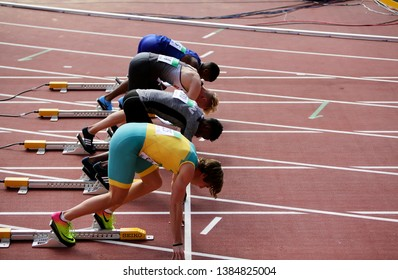 TAMPERE, FINLAND, July 10: Athlets on the 100 meters on the IAAF World U20 Championship in Tampere, Finland 10 July, 2018