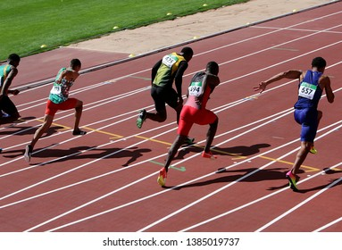 TAMPERE, FINLAND, July 10: Athlets running 100 meters on the IAAF World U20 Championship in Tampere, Finland 10 July, 2018