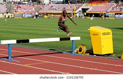 TAMPERE, FINLAND,  July 10: CELLIPHINE CHEPTEEK CHESPOL from Kenya win gold medal in the 3000 meters STEEPLECHASE on IAAF World U20 Championship Tampere,Finland 10th July, 2018