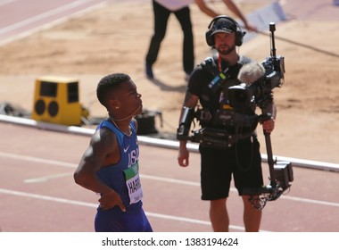 TAMPERE, FINLAND, July 10: ERIC HARRISON (USA) win bronze medals in 100 metrs on the IAAF World U20 Championship in Tampere, Finland 10 July, 2018.