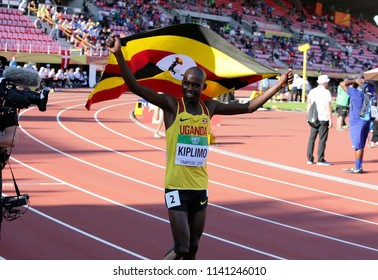 TAMPERE, FINLAND,  July 10: JACOB KIPLIMO from Uganda win silver in 10,000m at the IAAF World U20 Championships in Tampere, Finland on July 10, 2018.