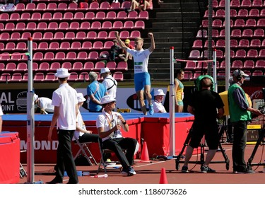 TAMPERE, FINLAND, July 10: JUUSO TOIVONEN (Finland) in the DECATHLON high jump event on the IAAF World U20 Championship in Tampere, Finland 10 July, 2018.