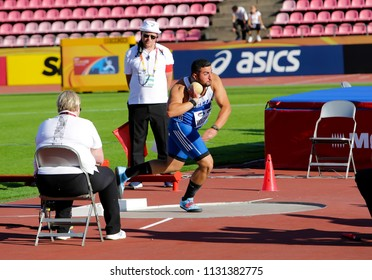 TAMPERE, FINLAND,  July 10: ODYSSEAS MOUZENIDIS from Greece win bronze medal in the shot put at the IAAF World U20 Championships in Tampere, Finland on July 10, 2018.