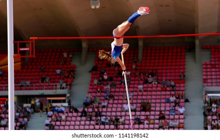 TAMPERE, FINLAND, July 10: RACHEL BAXTER (USA) on the pole vault event in the IAAF World U20 Championship Tampere, Finland 10th July, 2018.