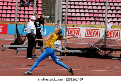 TAMPERE, FINLAND, July 11: Alina Shukh (Ukraine) win javelin throw final in the IAAF World U20 Championship in Tampere, Finland 11 July, 2018.