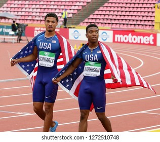 TAMPERE, FINLAND, July 11: ANTHONY SCHWARTZ and ERIC HARRISON (USA) win silver and bronze medals in 100 metrs on the IAAF World U20 Championship in Tampere, Finland 11 July, 2018.