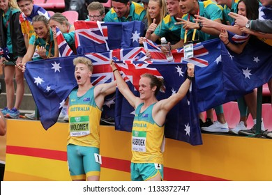 TAMPERE, FINLAND, July 11: ASHLEY MOLONEY and GARY HAASBROEK (Australia) win gold and silver medals in decathlon on the IAAF World U20 Championship in Tampere, Finland 11th July, 2018.