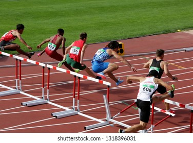 TAMPERE, FINLAND, July 11: Athletes running 110 metres hurdles Heats on the IAAF World U20 Championship in Tampere, Finland 11th July, 2018.