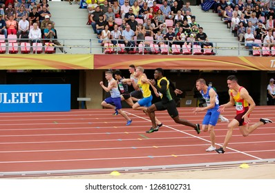 TAMPERE, FINLAND, July 11: Athlets on the 100 metrs semi final on the IAAF World U20 Championship in Tampere, Finland 11th July, 2018