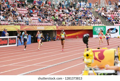 TAMPERE, FINLAND, July 11: Athlets running 400 metrs semi final on the IAAF World U20 Championship in Tampere, Finland 11 July, 2018.