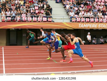 TAMPERE, FINLAND, July 11: Athlets running 100 metrs semi final on the IAAF World U20 Championship in Tampere, Finland 11 July, 2018.