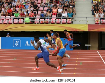 TAMPERE, FINLAND, July 11: Athlets running on 100 metrs Semi-Final on IAAF World U20 Championship in Tampere, Finland 11 July, 2018.