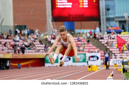 TAMPERE, FINLAND,  July 11: BARTOSZ GABKA from POLAND on the long jump event at the IAAF World U20 Championships in Tampere, Finland on July 11, 2018.