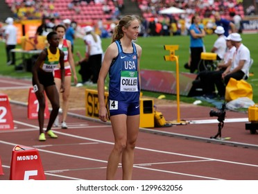 TAMPERE, FINLAND,  July 11: CAITLYN COLLIER (USA) after 800 METRES semi-final at the IAAF World U20 Championships in Tampere, Finland on July 11, 2018.