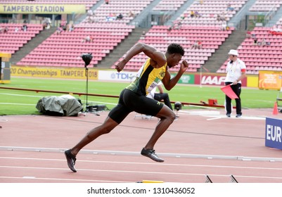 TAMPERE, FINLAND, July 11: CHANTZ SAWYERS from JAMAICA running 400 metres in the IAAF World U20 Championship in Tampere, Finland 11 July, 2018.