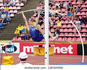 TAMPERE, FINLAND,  July 11: COLE RIDDLE (USA) on pole vault event on IAAF World U20 Championship Tampere, Finland 11 July, 2018.