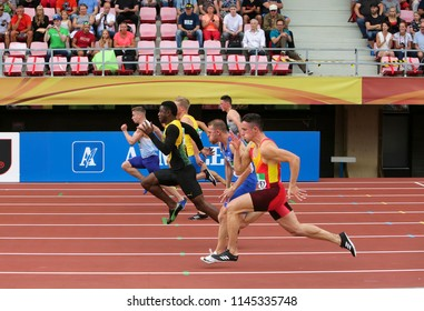 TAMPERE, FINLAND, July 11: DOMINIC ASHWELL (England), MICHAEL STEPHENS (Jamaica), GAL ARAD (Israel), SERGIO LÓPEZ in 100 metrs on the IAAF World U20 Championship in Tampere, Finland 11th July, 2018