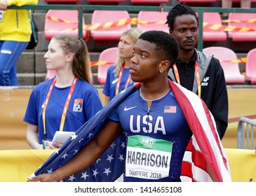 TAMPERE, FINLAND, July 11:  ERIC HARRISON (USA) win bronze medal in 100 metrs on the IAAF World U20 Championship in Tampere, Finland 11 July, 2018.