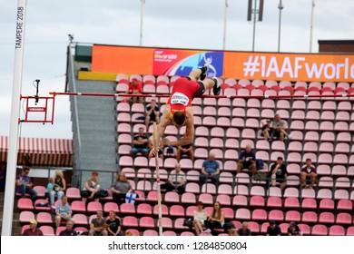 TAMPERE, FINLAND,  July 11: JOSE ANTONIO MALDONADO (SPAIN) on pole vault event on IAAF World U20 Championship Tampere, Finland 11 July, 2018.