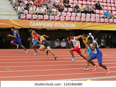 TAMPERE, FINLAND, July 11: LALU MUHAMMAD ZOHRI (Indonesia),DAISUKE MIYAMOTO (JPN),ANTHONY SCHWARTZ (USA) on 100 metrs Semi-Final on IAAF World U20 Championship in Tampere, Finland 11 July, 2018.