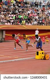 TAMPERE, FINLAND, July 11: LALU MUHAMMAD ZOHRI (Indonesia),VASYL MAKUKH (Ukraine),RIKKOI BRATHWAITE  (IVB) in 100 m. Semi-Final on the IAAF World U20 Championship in Tampere, Finland 11 July, 2018.