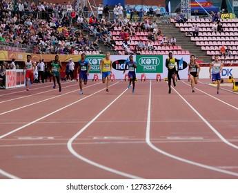 TAMPERE, FINLAND, July 11: LALU MUHAMMAD ZOHRI  (Indonesia) win gold medal in 100 metrs on the IAAF World U20 Championship in Tampere, Finland 11 July, 2018.