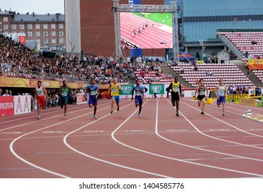 TAMPERE, FINLAND, July 11: LALU MUHAMMAD ZOHRI  (Indonesia) win gold medal in 100 metrs on the IAAF World U20 Championship in Tampere, Finland 11 July, 2018.