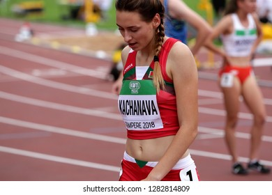 TAMPERE, FINLAND,  July 11: MARHARYTA KACHANAVA (BELARUS) after 800 METRES semi-final at the IAAF World U20 Championships in Tampere, Finland on July 11, 2018.