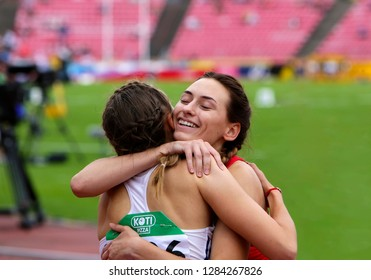 TAMPERE, FINLAND,  July 11: MARHARYTA KACHANAVA (BELARUS) and GABRIELA GAJANOVA (SLOVAK REPUBLIC) after 800 METRES semi-final at the IAAF World U20 Championships in Tampere, Finland on July 11, 2018.