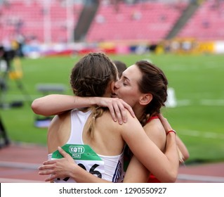 TAMPERE, FINLAND,  July 11: MARHARYTA KACHANAVA (BELARUS) and GABRIELA GAJANOVA (SLOVAK REPUBLIC) after 800 METRES semi-final at the IAAF World U20 Championships in Tampere, Finland on July 11, 2018.