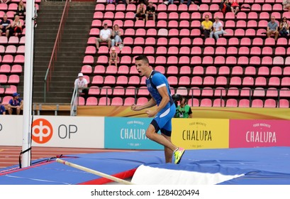 TAMPERE, FINLAND,  July 11: MATTEO MADRASSI from Italy on pole vault event on IAAF World U20 Championship Tampere, Finland 11 July, 2018.