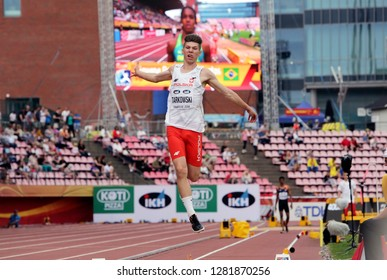 TAMPERE, FINLAND,  July 11: PIOTR TARKOWSKI from POLAND on the long jump event at the IAAF World U20 Championships in Tampere, Finland on July 11, 2018.