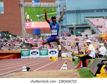 TAMPERE, FINLAND,  July 11: RAYVON ALLEN from USA on the long jump final at the IAAF World U20 Championships in Tampere, Finland on July 11, 2018.