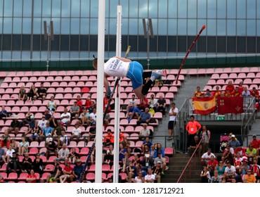 TAMPERE, FINLAND,  July 11: SANTTU KOSKIAHO from Finland on pole vault event on IAAF World U20 Championship Tampere, Finland 11 July, 2018.