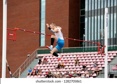 TAMPERE, FINLAND,  July 11: SANTTU KOSKIAHO from Finland on pole vault event on IAAF World U20 Championship Tampere, Finland 11 July, 2018.