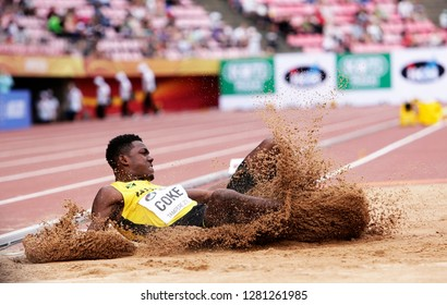 TAMPERE, FINLAND,  July 11: SHAKWON COKE from Jamaica on the long jump final at the IAAF World U20 Championships in Tampere, Finland on July 11, 2018.