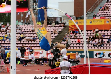 TAMPERE, FINLAND, July 11: TARAS SHEVTSOV from Ukraine on the pole vault event on IAAF World U20 Championship Tampere, Finland 11 July, 2018.
