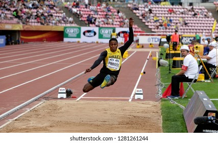 TAMPERE, FINLAND,  July 11: WAYNE PINNOCK from Jamaica win bronze medal in the long jump final at the IAAF World U20 Championships in Tampere, Finland on July 11, 2018.