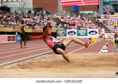 TAMPERE, FINLAND,  July 11: YUKI HASHIOKA from Japan win gold in the long jump final at the IAAF World U20 Championships in Tampere, Finland on July 11, 2018.