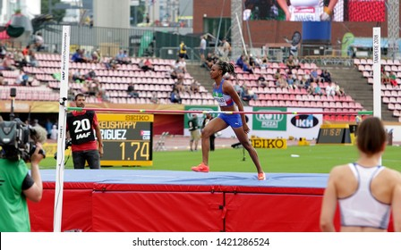 TAMPERE, FINLAND, July 12: ADRIANA RODRIGUEZ from Cuba on heptathlon event on the IAAF World U20 Championship in Tampere, Finland 12 July, 2018
